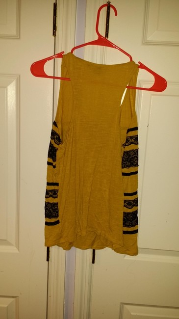 Forever 21 Comfortable Sleeveless Lace Vintage Color-blocking Cotton Top Mustard with black stripes