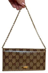Gucci Gucci Crystal Metallic Bronze Wallet & Chain