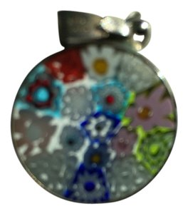 AUTHENTIC ROUND PENDANT WITH ITALIAN MOSAIC MULTI-COLOR FLOWER DESIGN