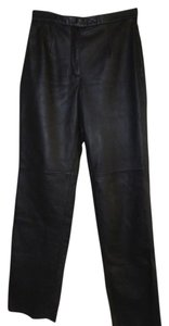 Jacqueline Ferrar Leather Lambskin Straight Leg Straight Pants Black