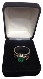 ANTIQUES SILVER 18 K GOLD NATURAL EMERALD RING Size 7.0