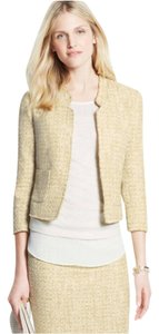 Ann Taylor Fringed Tweed Metallic Notched Jacket And Pencil Skirt