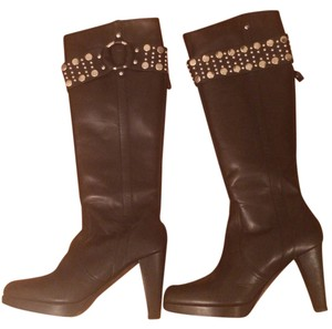Frye Studded Leather Heel Western Knee High Black Boots