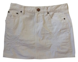 J.Crew Distressed Denim Denim Mini Vintage Mini Skirt White