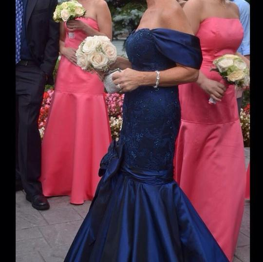New Navy Lace Mesh/Silk Taffeta/Swarovski Crystal Collection Formal Bridesmaid/Mob Dress Size 6 (S)
