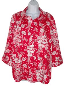 Coldwater Creek Floral Cotton Red White Printed Button Down Shirt