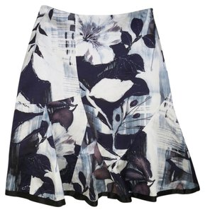 Chico's Floral Silk Satin Skirt