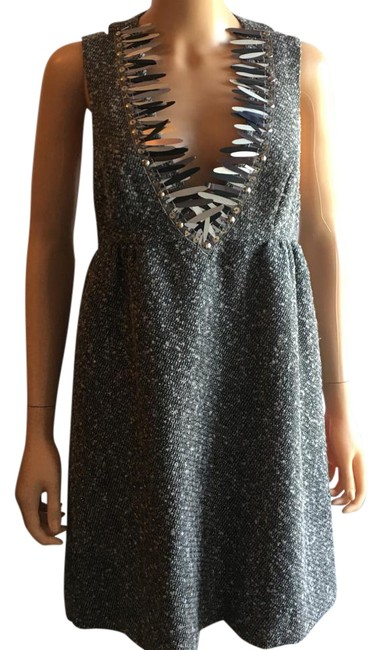 Item - Gray Twill Mid-length Cocktail Dress Size 8 (M)