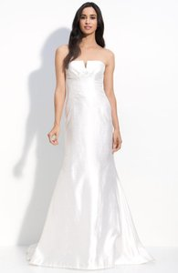 Nicole Miller Bridal Antique White Silk Shantung Mermaid Im0002 Formal Wedding Dress Size 2 (XS)