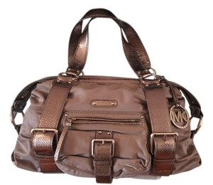 Michael Kors Mk Satchel in Gray & Silver