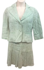 Ann Taylor LOFT ANN TAYLOR LOFT LOFT LIGHT GREEN LINEN SKIRT SUIT 10