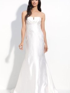 Nicole Miller Bridal Antique White Silk Shantung Mermaid Formal Wedding Dress Size 4 (S)