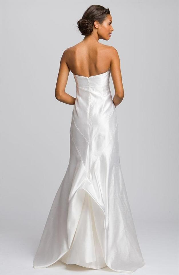 Nicole Miller Bridal Antique White Silk Shantung Mermaid Formal ...