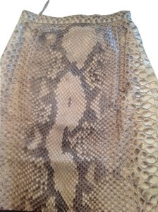 Stephen Yurawitz Luxury Skirt Genuine Brown and Cream Python