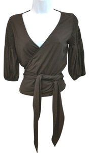 Theory Stretchy Brown Wrap Top