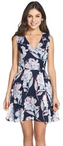 French Connection short dress Navy Flare Floral V-neck Sleeveless on Tradesy