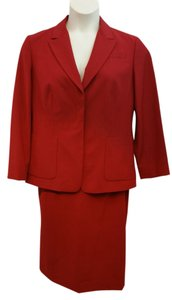 Emanuel Ungaro EMANUEL BY EMANUEL UNGARO STRETCHY RED WOOL BLEND SKIRT SUIT US 12 I 46