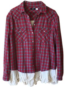 BDG Button Down Shirt Red Plaid