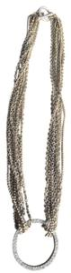 Dillard's Multi Strand Necklace with Faux Diamond Circle Pendant