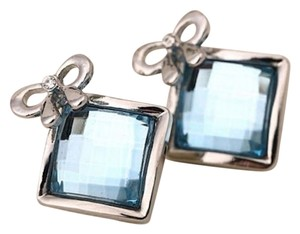 New Blue Crystal Square Stud Earrings Silver Tone j2163