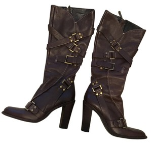 BCBGMAXAZRIA Chunky Heel Mid Rise Brown Boots