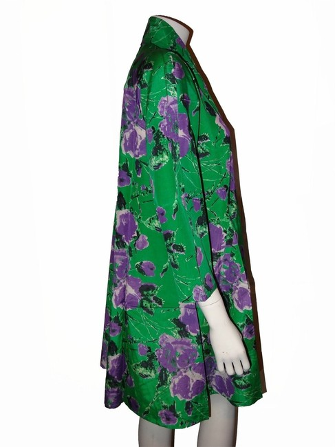 Patricia Field 55% Silk 45% Cotton 3/4 Sleeves Side Green Jacket