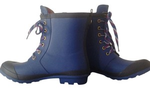 Tommy Hilfiger Unique Retro Style Chic Rubber Chunky Heel Blue and black Boots