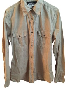 Max Mara Weekend Khaki Casual Blouse Button Up Button Down Shirt Stone