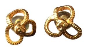 Chanel 24 K gold plated Chanel 3 clover earrings