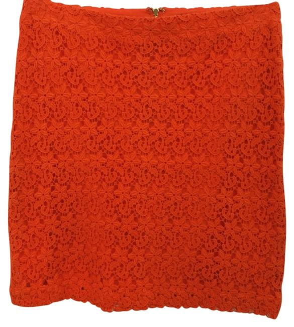 Item - Orange Crochet Pencil M Skirt Size 8 (M, 29, 30)