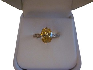 Oval Canary Yellow CZ ring in 14K gold
