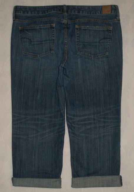American Eagle Outfitters Classic 5 Pocket Style *zip Fly Cotton *grinding Whiskering & Distressing Detail *machine Washable *can Be Worn Cuffed Capri/Cropped Denim-Dark Rinse