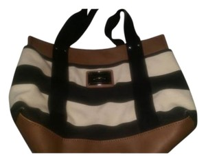 Tommy Hilfiger Canvas Satchel in black and cream stripe