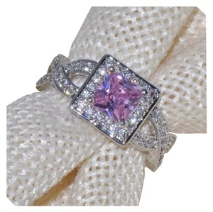 3CT Pink Topaz 100% White Gold Filled