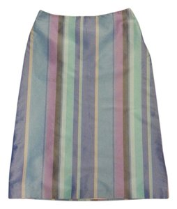 French Connection Striped A-line Skirt blue striped