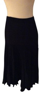Zara Pleated Metallic Midi Skirt black