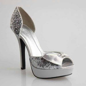Evenings By Allure Starlight Silver Sparkle Wedding Shoes