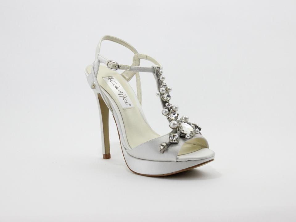 Coloriffics Ivory Crystal Rhinestone and Pearl T-strap Sandals Size US 8  Regular (M ...
