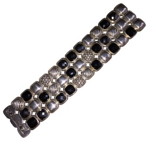 David Yurman RARE! David Yurman Three Row Chiclet Bracelet Hematite Onyx Pave Diamonds Cable Albion Sterling Silver 925 DY