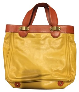 Marc Jacobs Designer Tote Satchel in Mustard Yellow And Brown