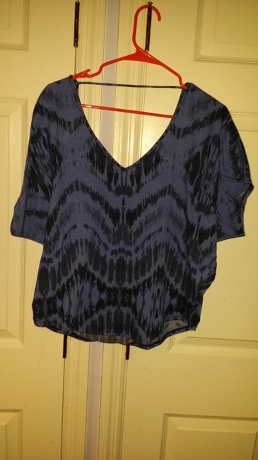 Express V-neck Comfortable Cotton Striped Chevron Casual T Shirt Black & Blue