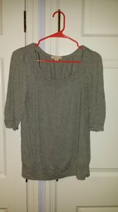 Forever 21 Casual Scalloped Banded Waist Short Sleeve Cotton Comfortable T Shirt Grey