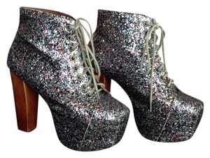 Jeffrey Campbell Lita Leather Silver Multi Glitter Boots