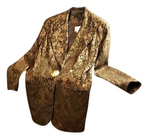 Vakko Olive Green with Burnt Gold/Bronze Print Blazer