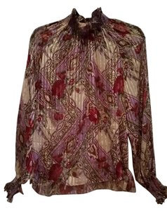 Adrianna Papell Silk Flowy Flowing Tunic Top Purple