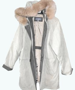 Liz Claiborne Hooded Large Long Taupe, Beige Jacket