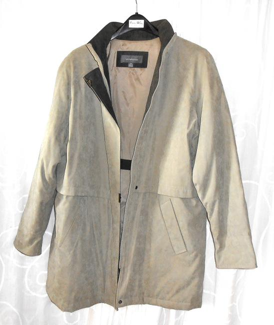 Liz Claiborne Hooded Large Long T Taupe, Beige Jacket