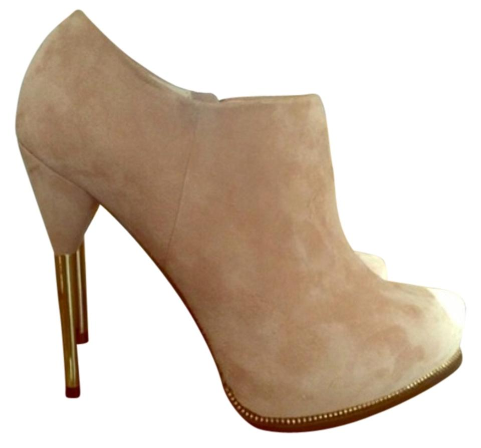 Zara Beige/Tan/Nude Suede Ankle Heel with Gold Stiletto Heel Ankle Boots/Booties fb4ba8