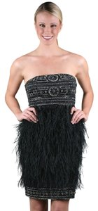 Sue Wong Beaded Feathered Feather Dress
