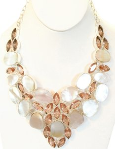 Fabulous Mother of Pearl and Peach Topaz 925 Sterling Silver Statement Necklace